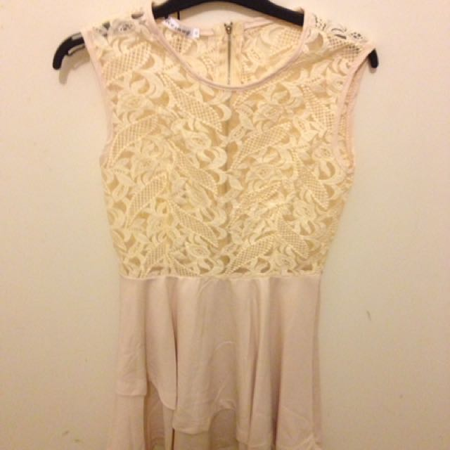 Cream Flowy Dress Size Small