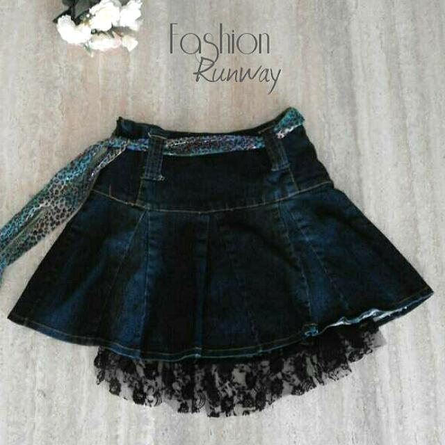 DISKON Denim Flare Skirt With Lace & Colorful Belt