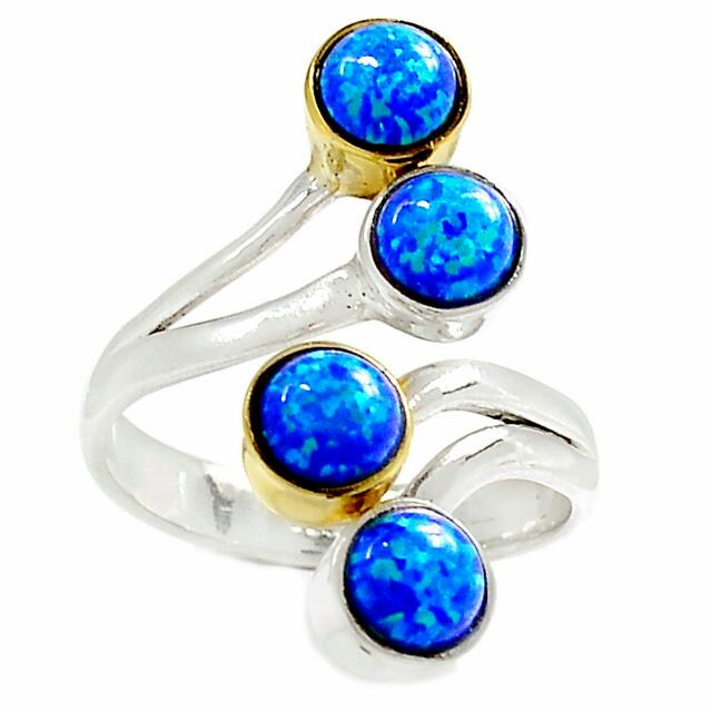 Designer Artist  Two Tone Fire Opal 925 Sterling Silver Ring