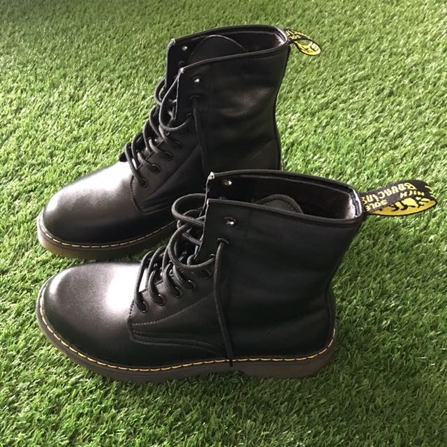 Dr Martens Inspired Black Leather Boots