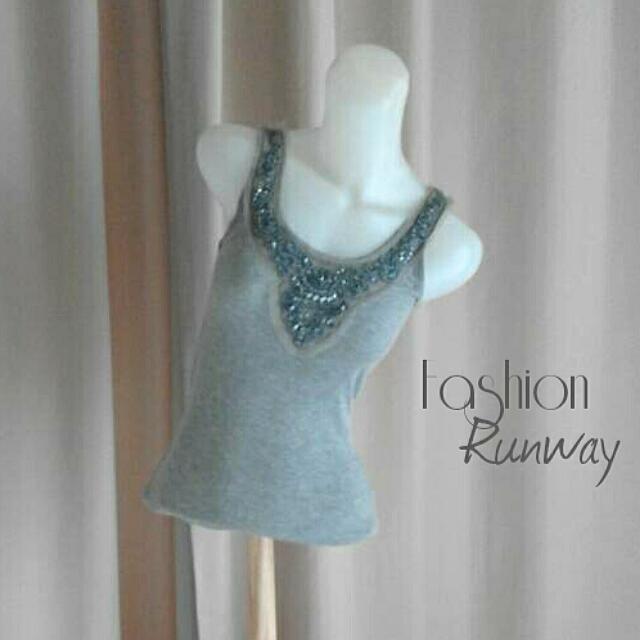 DISKON Embellish Grey Singlet Top