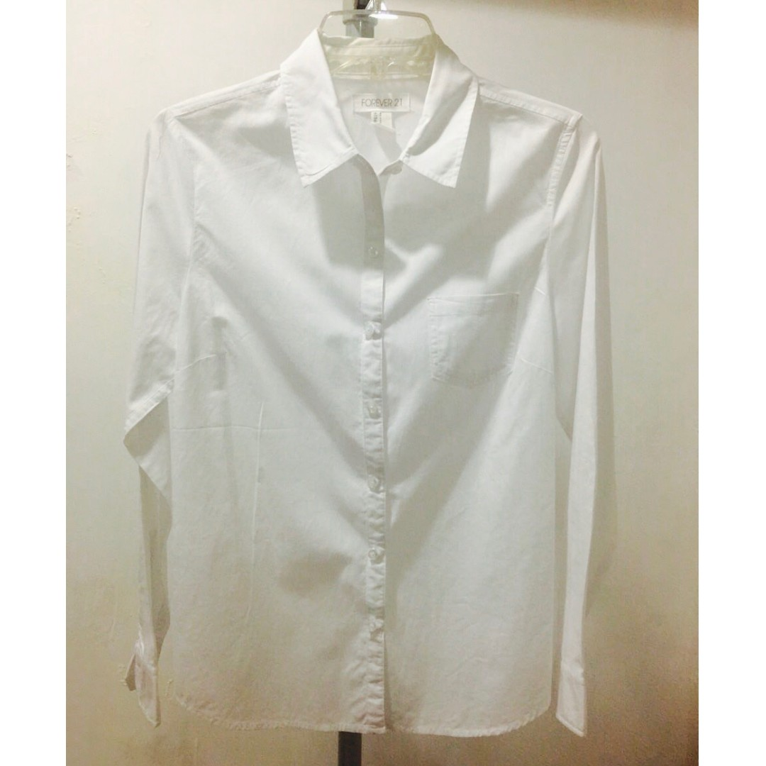 F21 White Collared Blouse