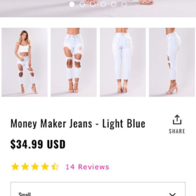 Fashion Nova Money Maker Jeans - Light Blue, Size SMALL