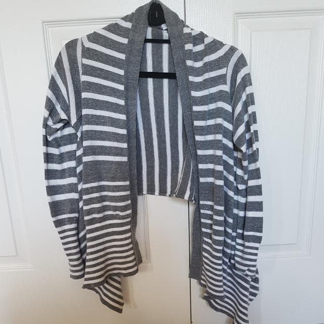 Garage Grey And White Striped Cardigan