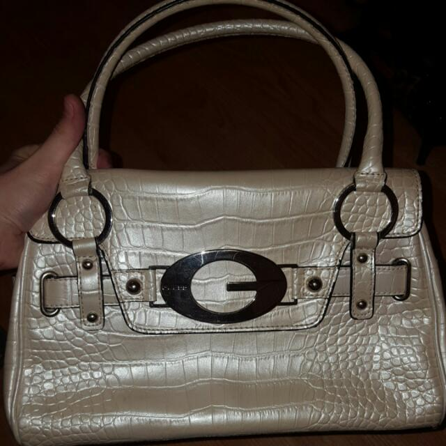 Guess Crocker Print Pearlescent Short Handle Bag