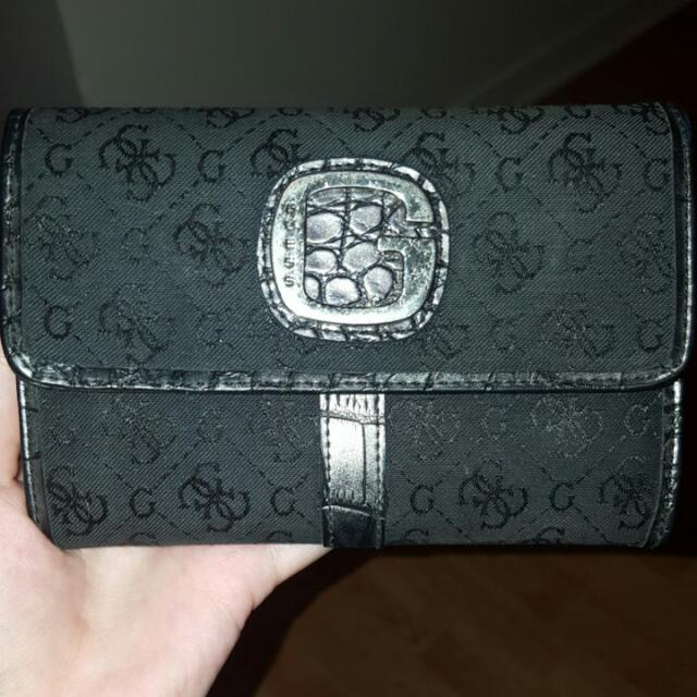Guess G Print Wallet In Black With Croc Liner