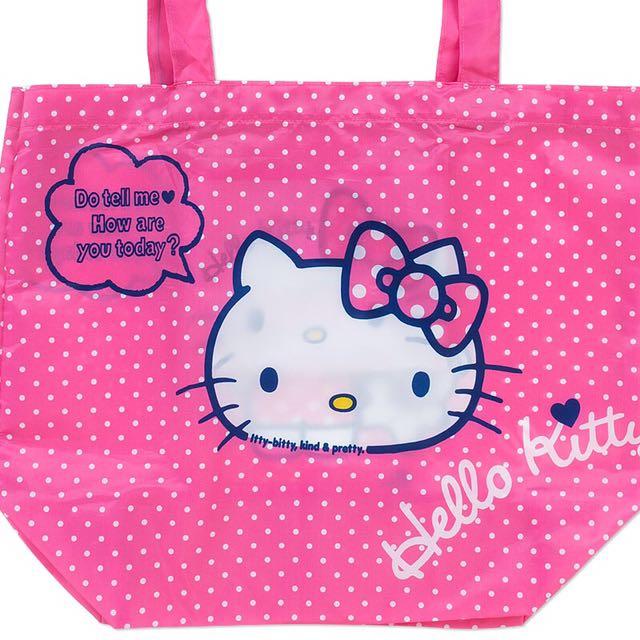 全新Hello Kitty 超可愛桃紅摺疊購物袋環保袋尼龍輕便