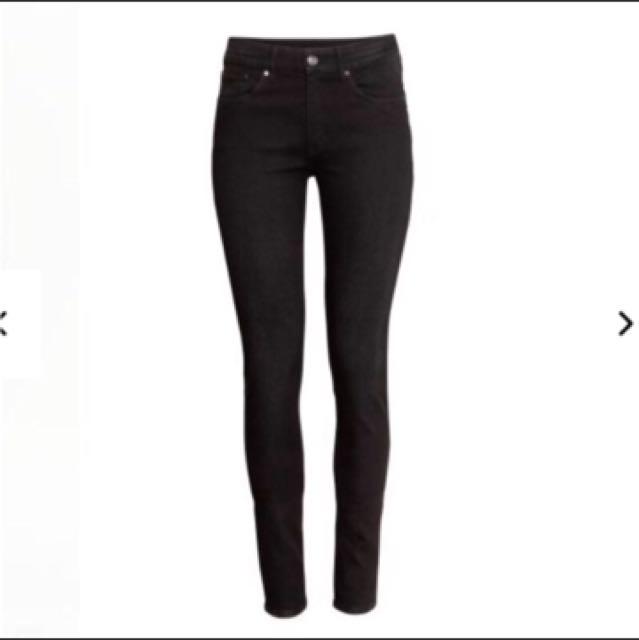 H&M 黑色彈力緊身長褲