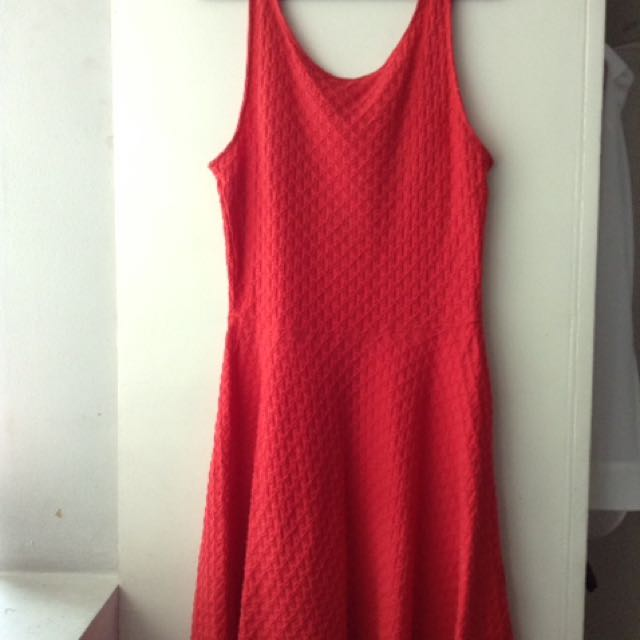 H&M Red Fit and Flare Dress