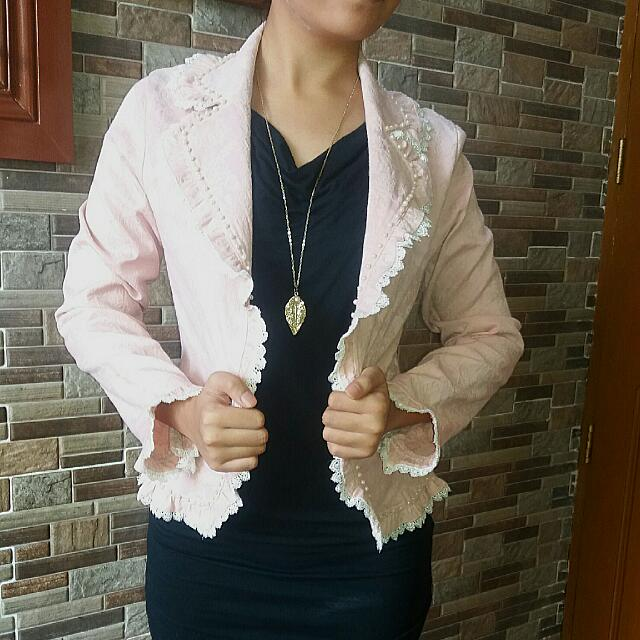 Jacket With Lace And Pearl Detail