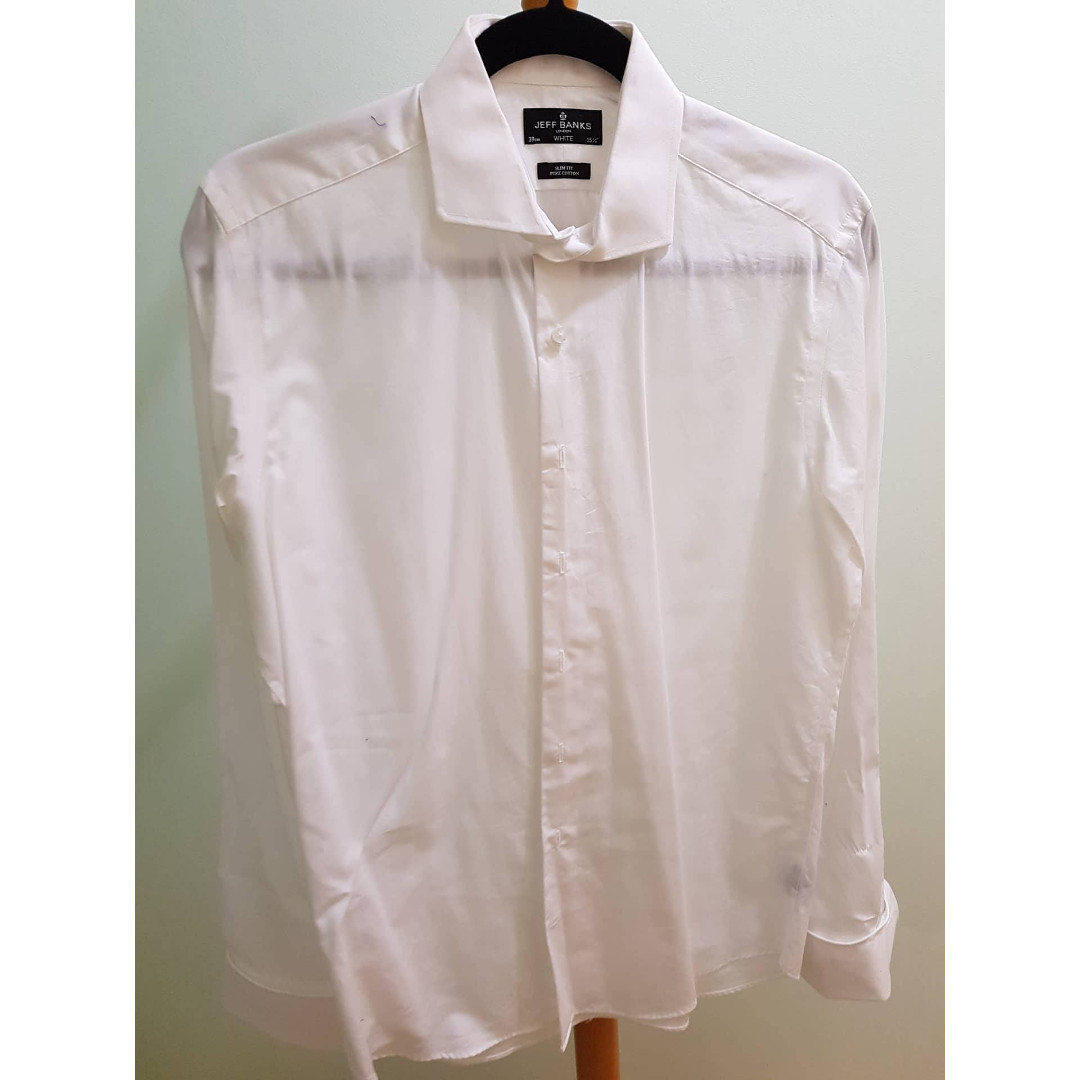 Jeff Banks White Cuffed Formal Shirt (Slim Fit)
