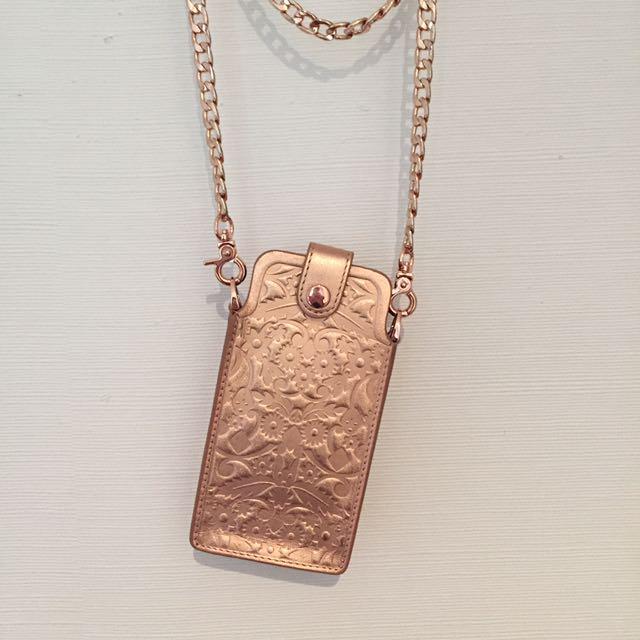 Karen Walker Rose Gold Embossed Supreme Neck Purse