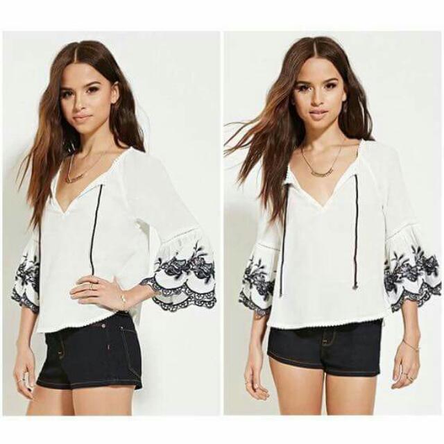 Korean Embroidery Top Color: White Fabric:cotton/Linen Size Small ...