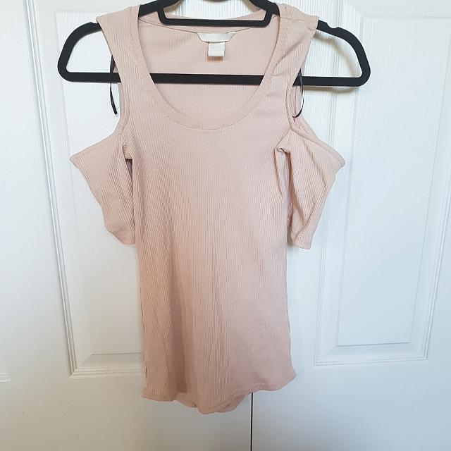 Light Pink Shoulder Cut Out H&M Shirt