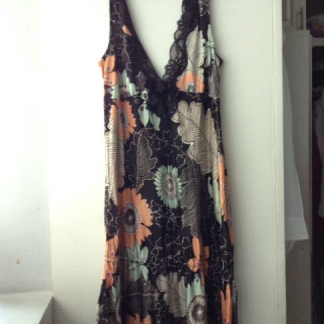 Mango Suit Black Floral Dress With Lace Details