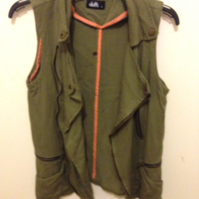 Military Green Sleeveless Jacket