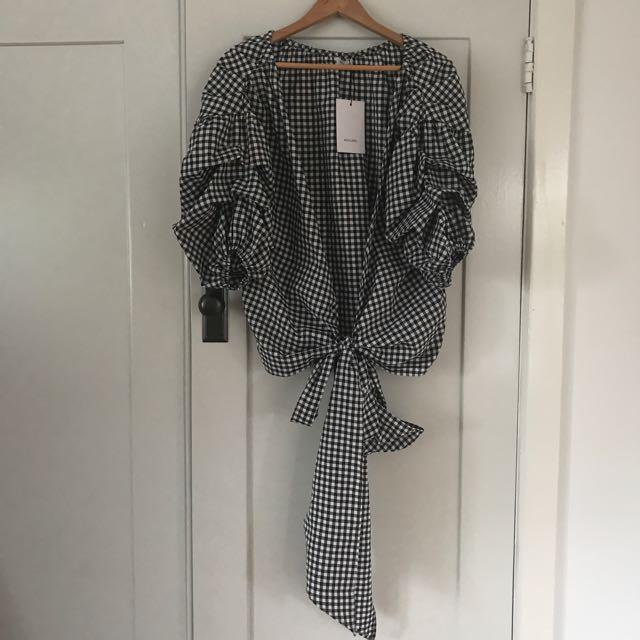 MLM label Gingham Salo Wrap Shirt