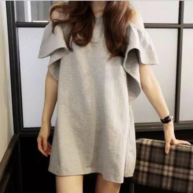 洋裝💎露肩花瓣袖洋裝M~XL