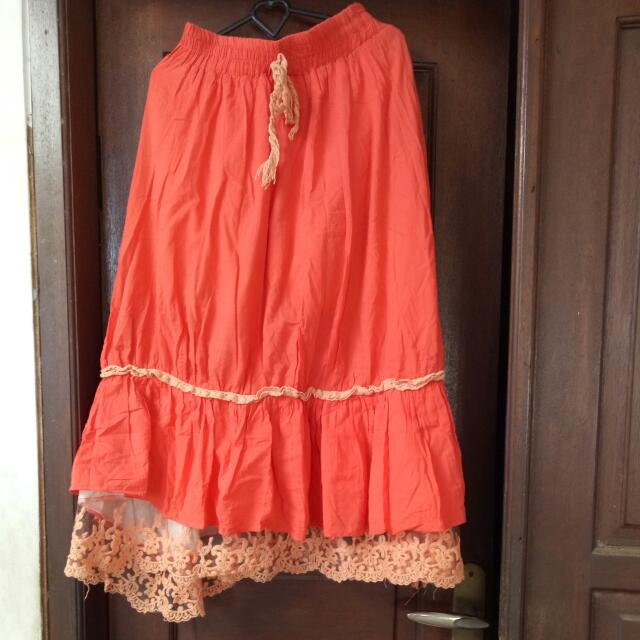 Orange Gypsy Skirt