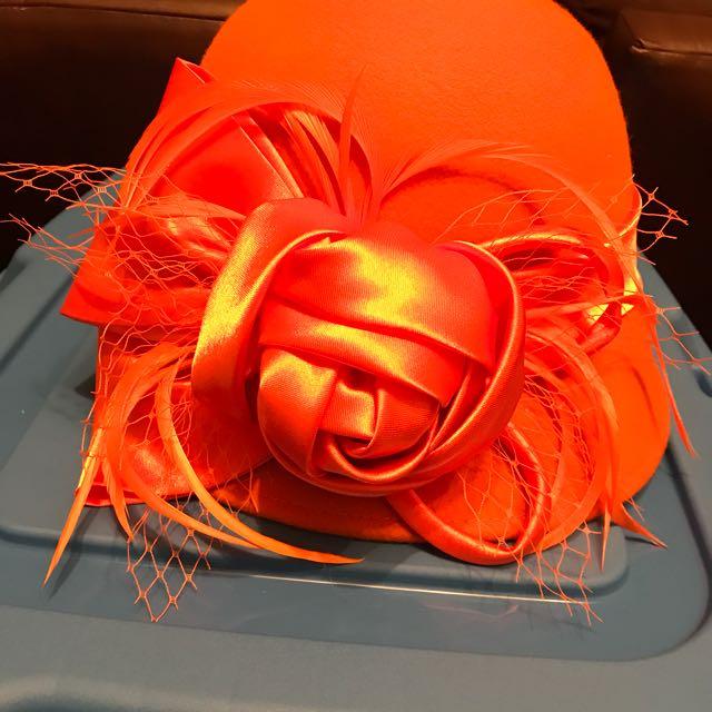 Orange Hat W/ Ribbon Flower