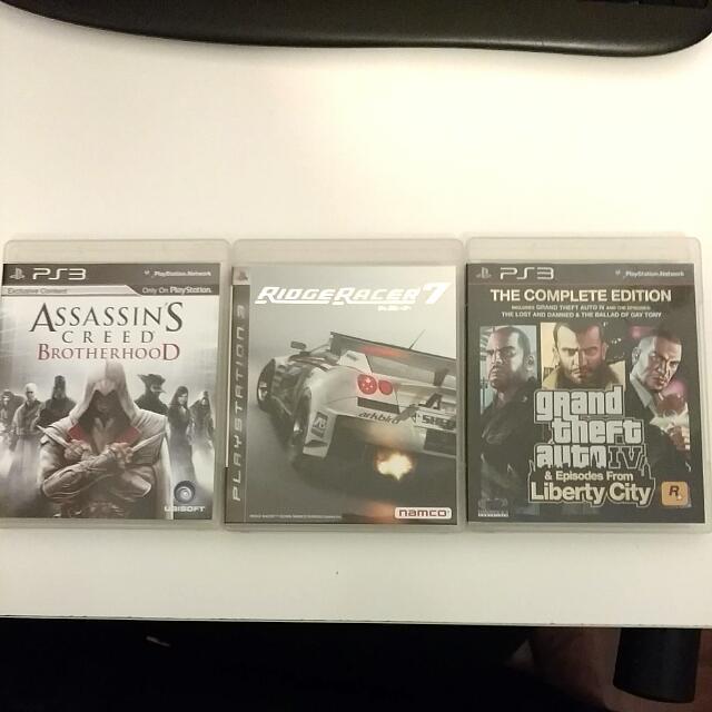 PS3 GTA IV 4 Ridge Racer 7 Assassins Creed Brotherhood Games