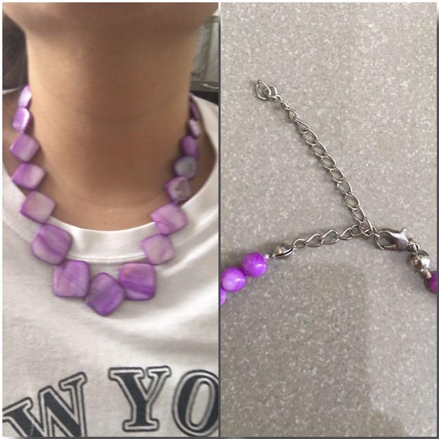 Purple Capiz Shell Necklace
