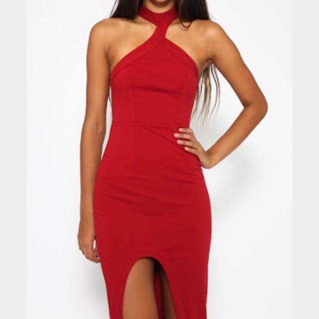 💕Red Choker Asymmetrical Formal & Evening Dress