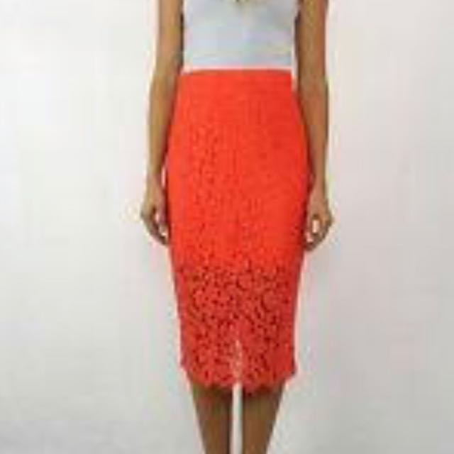 Red Laced Pencil Skirt - Bardot