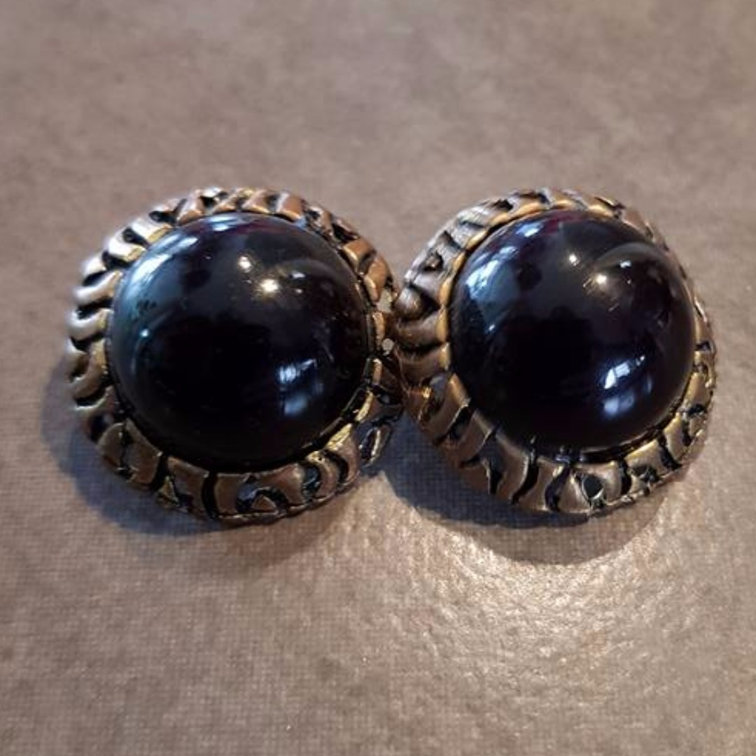Round Black with Gold Frame Earrings