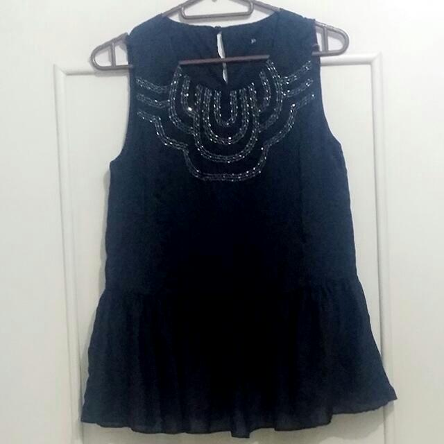 Silky peplum blouse