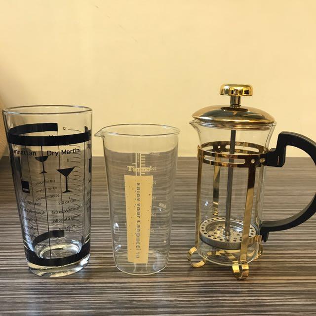 調酒攪拌杯、Tiamo奶泡杯、壓濾壺