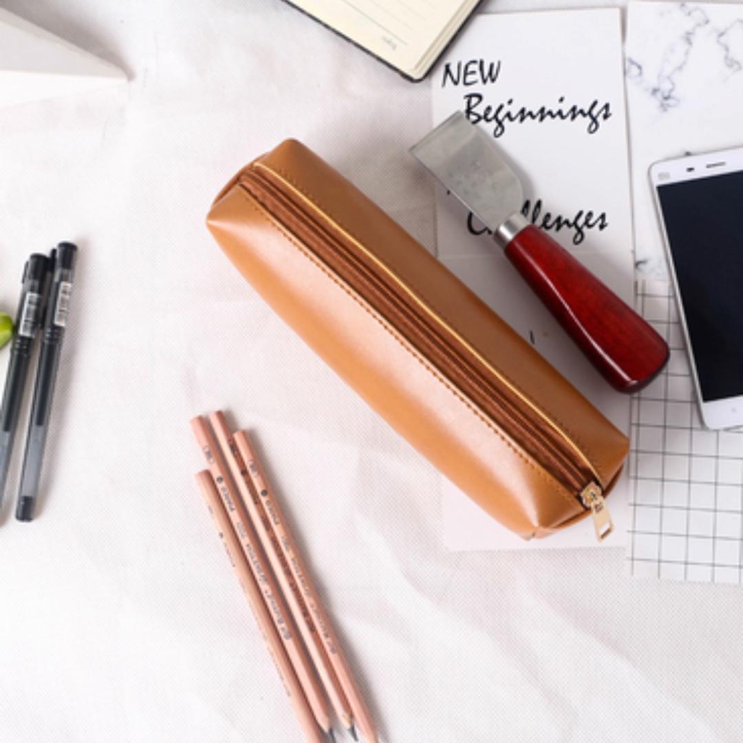 tumblr basic leather square face pencil case books stationery