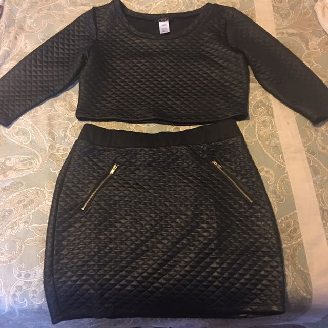 Two Piece Black Quilted Top & Skirt