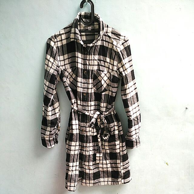 Uniqlo Flannel Shirt Dress In Tartan