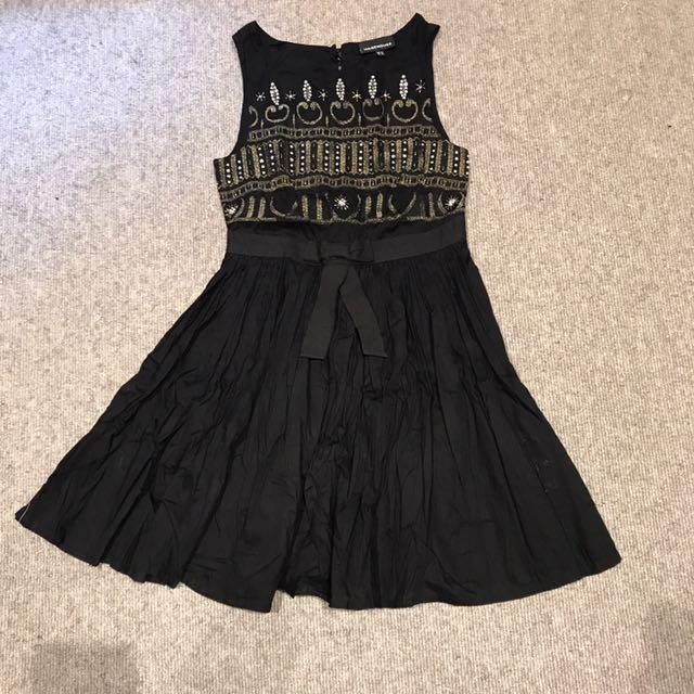 Warehouse Festive Black Dress
