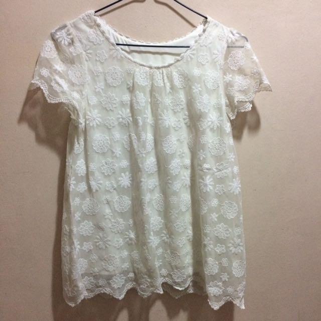 White Floral Lace Blouse