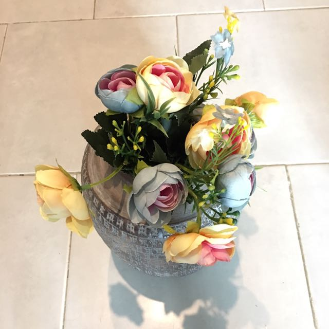 Yellow and Blue Roses ( Artificial flowers)