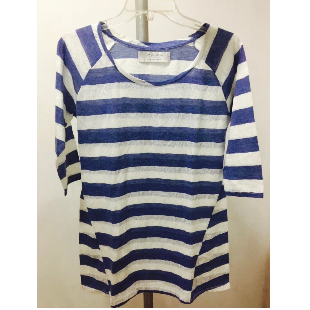 Zara Blue Striped Blouse