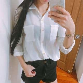 白色雪紡襯衫 蕾絲