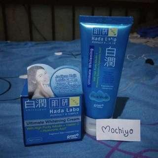 Sepaket Hada Labo Shirojyun Ultimate Whitening Cream Night Cream + Face Wash nya