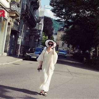 安琪女神麻質洋裝
