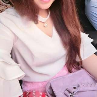 🚚 韓,珍珠繞領雪紡衫