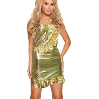 Ladies Sexy lotus leaf patent leather Mini Dress Babydoll + gstring Gold - S