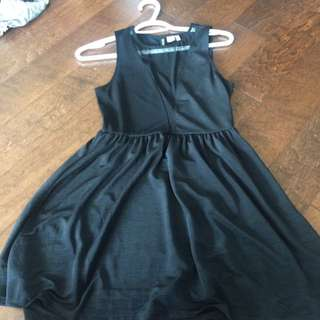 Black Skater Dress With Peekaboo Panel