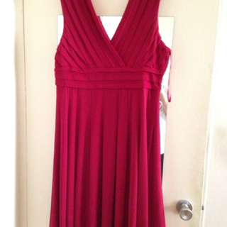 Deep Red V-neck Dress Size 18