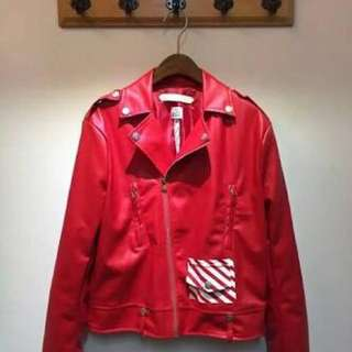 Off White Red Leather Jacket