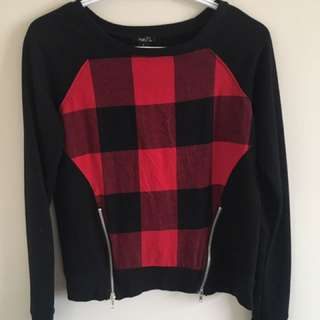Black And Red Check board Sweater