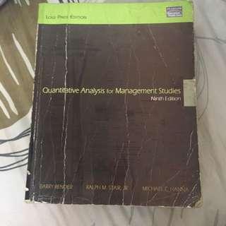 Quantitative Analysis for Management Studies
