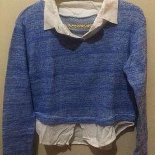 Sweatshirt White Blue