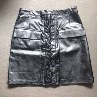 Into Pleather Skirt